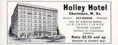 Holley Hotel Charleston West Virginia 225 Rooms Half w AC 1956 Travel Tourism AD