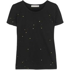 Kain Nelly paint-splattered cotton and modal-blend T-shirt ($63) ❤ liked on Polyvore featuring tops, t-shirts, black, paint splatter t shirt, kain t-shirts, black tee, black cotton t shirt and loose fit tops