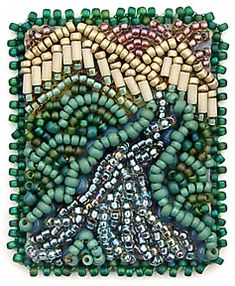 Flow, miniature beaded embroidery by Robin Atkins, bead artist