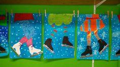 Lijf schetsen, wasco er over heen, na de wasco ecoline, en daarna de schaatsen en ijsstokjes met aluminiumfolie en de sneeuw met verf