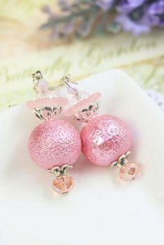 Pink Pearl Earrings Drops, Pink Pearl Dangles, Pink Earrings, Earrings under 20, Bridesmaids Gifts, Wedding Earrings, Romantic Earrings by TrinketHouse on Etsy