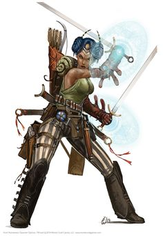f Rogue Arcane Trickster Lt Armor Dual Swords Longbow Pistol Potion Traveler by Monte Cook Games lg Female Character Concept, Character Art, Character Design, Character Ideas, Fantasy Characters, Female Characters, Fantasy Figures, Lotr, Dark Fantasy