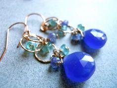 Deep Hydrangrea on Hammered Rose Gold Hoop Earrings | Sueanne Shirzay Jewelry
