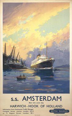 'Harwich - Hook of Holland', British Railways poster, c 1950s., Mason, Frank Henry