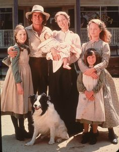 "The Ingalls family from TV's ""Little House on the Prairie"" (from left): Half-Pint (Melissa Gilbert), Pa (Michael Landon), Ma (Karen Grassle) and baby Grace, Mary (Melissa Sue Anderson) and Carrie (played by twins Lindsay and Sidney Greenbush who retired from acting in the late 80s)."