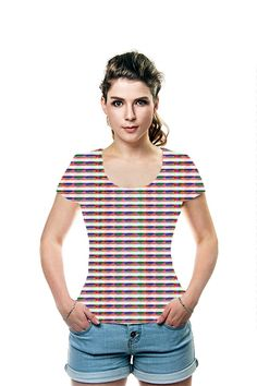 Fashion Couture Diva Romantic Rainbow Line Steps Couture Fashion, Fashion Art, Tee Shirts, Tees, Summer Of Love, Blouse, Prints, Shopping, Clothes