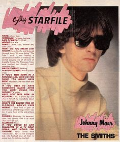 Johnny Marr questionnaire published in Jackie magazine, October 1984 ― via Morrissey Scans. Breaking Benjamin, Papa Roach, Sara Bareilles, Garth Brooks, The Smiths Morrissey, Johnny Marr, Martin Gore, Harry Potter Notebook, Band Pictures