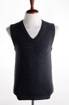 Men New Style Spring V-Neck Individual Korean Style Black Blends Sweater Vest M/L/XL@M03b
