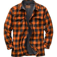 Neon Orange - Legendary Whitetails Men's Trailblazer Waffle Lined Shirt - Button Down Plaid Flannel with Dual Chest Pockets