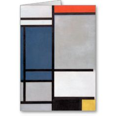 Mondrian Composition with Red, Blue, Black, Yellow Greeting Card