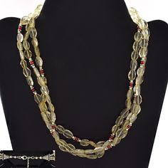 BEADED DESIGN 925 STERLING SILVER NECKLACE FOR WOMEN'S IN CITRINE & CORAL STONE #Handmade #Necklace