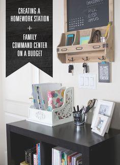 Budget Friendly Family Command Center + Homework station. #backtoschool #organization