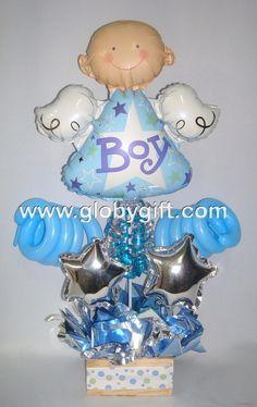 centro de mesa para bautizo con globos de niño - Buscar con Google