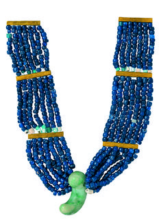 Chestlace. Korea, Silla kingdom, end of 4th century. Excavated from Wolseong-ro Tomb no. ga-13. Glass, gold, and jade; L. 17 1/8 in. (43.5 c...