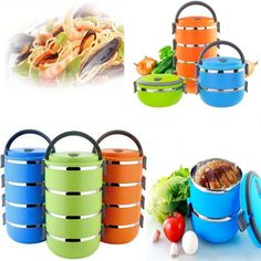 4 Layers Stainless Steel Thermal Insulated Lunch Box Bento Food Container Handle #Unbranded - I like the blue