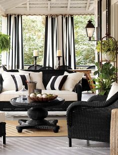 Black and White for Outdoors  www.potterybarn.com