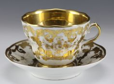 19th Century KPM Porcelain Tea Cup & Saucer -  decorated in gold gilt. via gallery_xv, ebay