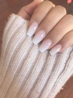 French Fade With Nude And White Ombre Acrylic Nails Coffin Nails – Cute Nails Ombre Nail Designs, Colorful Nail Designs, Acrylic Nail Designs, Acrylic Art, Neutral Nail Designs, Silver Nail Designs, Pink Nails, Gel Nails, Nail Polish