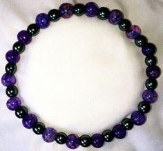 Hämatit Purple Achat Heilstein Perlen Armband