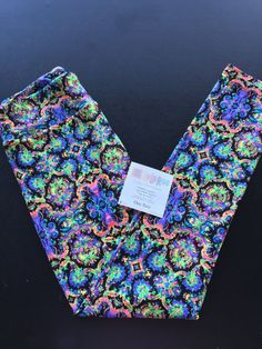 LuLaRoe Leggings OS NWT Neon Damask Scroll Rainbow Paisley Rare UNICORN! LQQK! #Lularoe