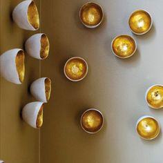 Gold Walls, Metal Walls, Home Crafts, Diy And Crafts, Diy Wall, Wall Decor, Coconut Shell Crafts, Gold Leaf Design Group, Wall Ornaments