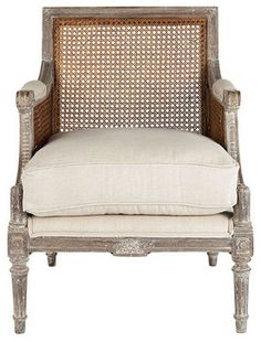 Linen Upholstered Cane Back Chair Wisteria 900.