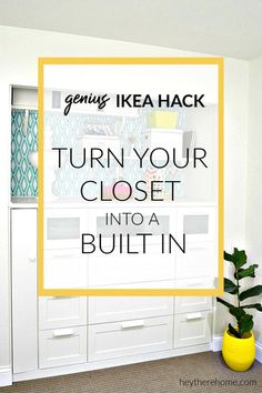 This is genius! Transform a standard closet into built in cabinets for storage using IKEA dressers    #builtins #ikeahack #ikea #cabinets #diy #tutorial via @heytherehome