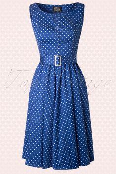 Hearts  Roses - 50s Sally Polkadot Swing Dress in Blue