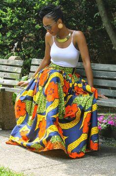 ecstasymodels: Floral Maxi Skirt Chinelo