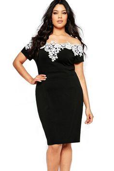 Lace Crochet Off Shoulder Black Plus Size Pencil Dress
