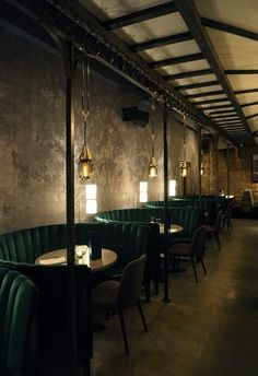 restaurant seating Main Dining room at Jue Lan Club in NYC. Restaurant designed by Dutch East Design Design Bar Restaurant, Restaurant Seating, Luxury Restaurant, Restaurant Lighting, Vintage Restaurant, Modern Restaurant, Restaurant Ideas, Industrial Restaurant Design, Cozy Restaurant
