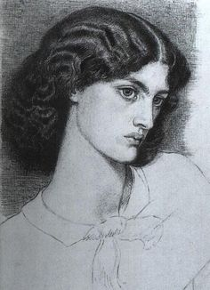 Jane Burden Morris  by Dante Gabriel Rossetti, 1858 Jane was a model and wife of William Morris.