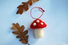 Needle Felted Mushroom Toadstool Ornaments by Faeriesinmycloset, $10.00