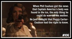 """""""When Phil Coulson got the news that Captain America's body was found in the ice, the only thing he could do was call his mother. He just thought that Peggy Carter-Coulson had the right to know."""" [hedcanon submitted by myheartbelongstoerik] - Visit to grab an amazing super hero shirt now on sale!"""
