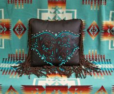 Western leather pillow home decor vintage by stargazermercantile, $425.00