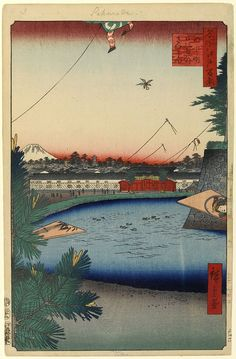 Hiroshige - One Hundred Famous Views of Edo Spring 3 Hibiya and Soto-Sakurada from Yamashita-chō (山下町日比谷外さくら田 Yamashita-chō Hibiya Soto-Sakurada?)	Residence of daimyo Nabeshima Kansō from the Saga Domain, outer moat of Edo Castle, Mount Fuji	Kadomatsu pine, hagoita and kites indicate a setting around New year	1857 / 12	Hibiya, Chūō