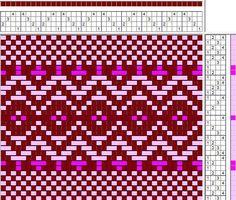 Great draft for rag rug weaving! Inkle Weaving, Inkle Loom, Tablet Weaving, Paper Weaving, Weaving Art, Hand Weaving, Weaving Designs, Weaving Projects, Weaving Patterns
