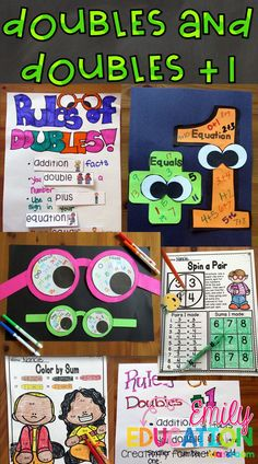 Doubles and Doubles Plus One addition facts activities that keep students engaged! Addition Activities, Math Addition, Addition Facts, Math Activities, Addition Strategies, Doubles Addition, Math Resources, Classroom Crafts, Math Classroom