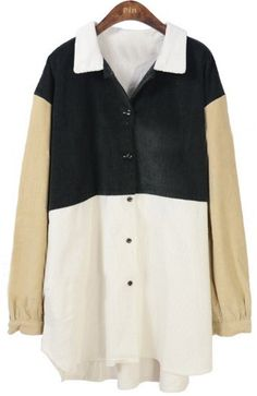 Green White Lapel Long Sleeve Buttons Blouse