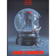 A movie poster of DIE HARD by the artist Laurent Durieux - printed in serigraph - signed and numbered - a masterpiece in illustrative art. Die Hard, Hard Tattoos, Laurent Durieux, Hard Movie, One Image, Snow Globes, Mystery, Artist, Prints