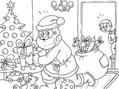 A young boy sees Santa Claus putting presents under the tree. Unique Christmas Cards, Christmas Messages, Christmas Colors, Christmas Windows, Christmas Tree, Free Christmas Coloring Pages, Santa Coloring Pages, Tree Coloring Page, Hobbies And Crafts
