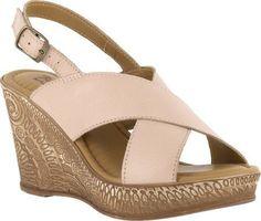 Bella Vita Women's Lea-Italy Slingback Wedge Sandal Natural Leather Size 5.5 M, Beige