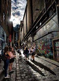 Melbourne = laneway city. Graffiti walls in Hosier Lane, CBD.