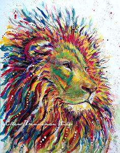 Lion Spirit Power Animal art by Ellen Brenneman Studio