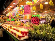 cool market with fresh smooties and fruit in Barcelona, spain