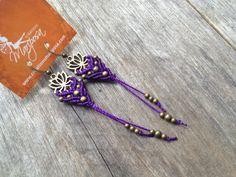 Micro macrame earrings lotus in violet boho por creationsmariposa