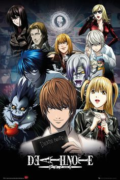 """""""Death Note"""" (My rating: High schooler becomes serial killer who kills criminals and then goes insane. And there's a Shinigami who likes apples for some reason. (Maturity Rating: I death note Death Note Light, L Death Note, Death Note Near, Collage Poster, Poster Prints, Posters, Shinigami, Manga Anime, Anime Art"""