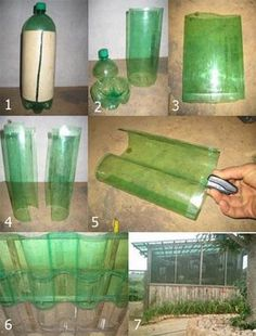 RECYCLE BOTTLES green house roof tiles (or sides, or windows) from liter or two liter bottles.. Upcycle, DIY. Picture inspiration only, link in Spanish.