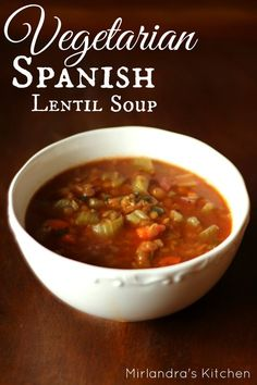 Delicious and rich with flavor, this Spanish Lentil Soup is hearty and packed with protein.  It's easy to throw together, cheep, and freezes well.