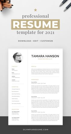 Professionally designed resume template that showcases your skills and experience in an elegant and effective way. The layout is optimized for building a resume that is informative, visually attractive and easy to navigate. The template package includes resume, cover letter and references templates in matching designs for creating a complete and consistent job application quickly and easily. Build your new resume now! #resume #resumetemplate #cv #cvtemplate #jobsearch #jobhunt #careeradvice One Page Resume Template, Modern Resume Template, Creative Resume Templates, Creative Cv, Cover Letter For Resume, Cover Letter Template, Cover Letters, Resume References, Cv Words